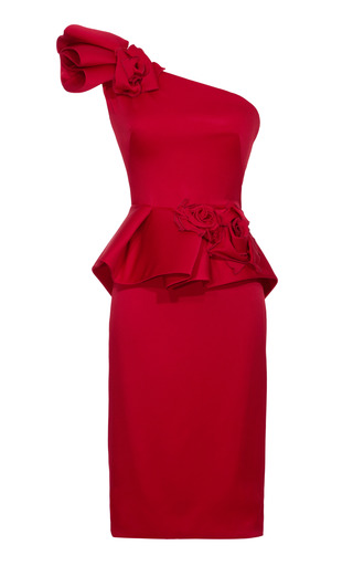 Medium marchesa red rose detail sculpted asymmetric dress