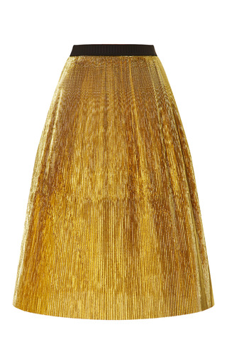 Medium marni gold pleated lurex skirt