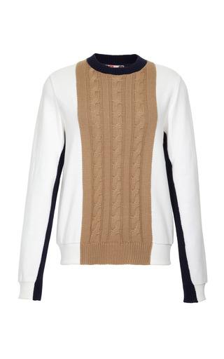 Medium msgm multi cotton blend sweatshirt with cable knit detail 2