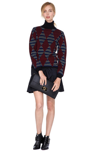 Harlequin Print Wool Blend Turtleneck Sweater by MSGM Now Available on Moda Operandi