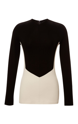 Medium narciso rodriguez black color block crepe jersey fitted top