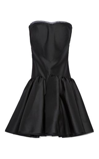 Medium zac posen black silk faille flounce hem dress