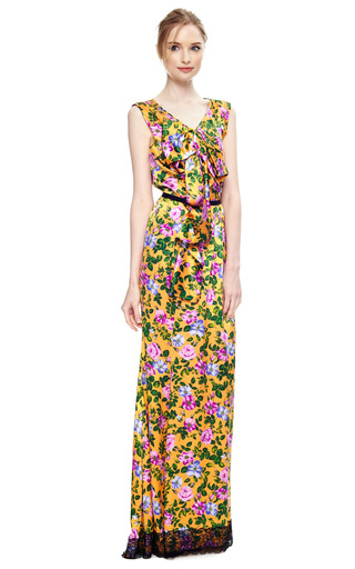Floral Print Silk Satin Gown by NINA RICCI Now Available on Moda Operandi