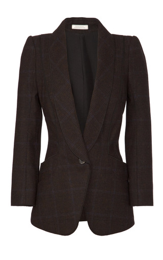 Medium nina ricci brown plaid harris tweed blazer