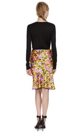 Floral Printed Silk Satin Skirt by NINA RICCI Now Available on Moda Operandi
