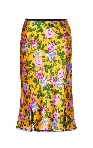 Medium nina ricci print floral printed silk satin skirt