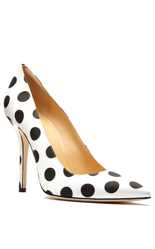 Mimi Satin Polka Dot Pumps by OSCAR DE LA RENTA Now Available on Moda Operandi