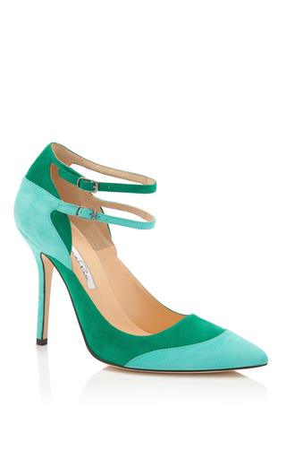 Sisi Ankle Strap Suede Pumps by OSCAR DE LA RENTA Now Available on Moda Operandi