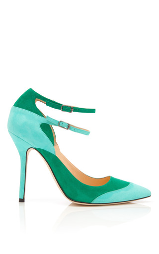 Medium oscar de la renta green sisi ankle strap suede pumps