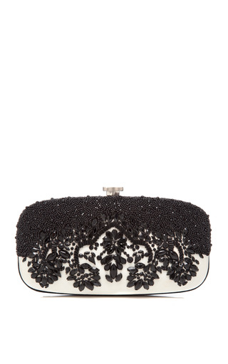 Medium oscar de la renta black goa bead embellished satin clutch
