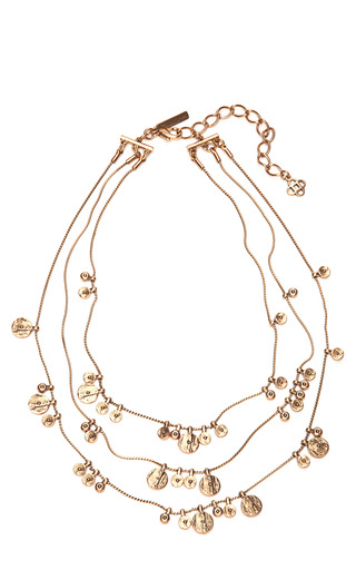 Medium oscar de la renta gold layered circle charmed necklace