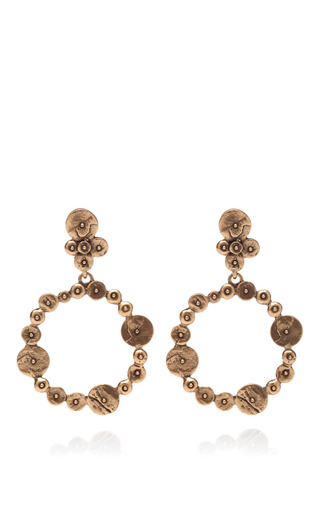 Medium oscar de la renta gold gold plated disc clip on earrings