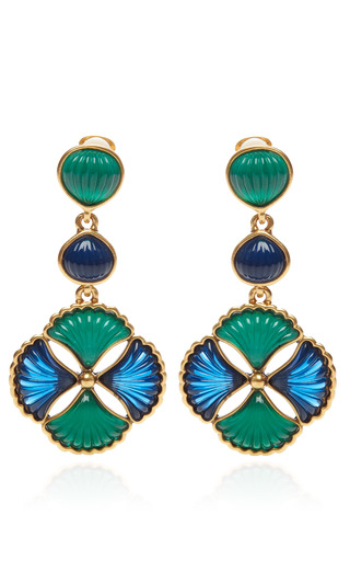 Medium oscar de la renta multi two tone cabochon clip on drop earrings