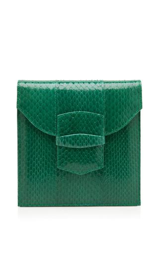 Medium oscar de la renta green grafton snakeskin envelope clutch