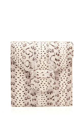 Medium oscar de la renta white grafton snakeskin envelope clutch 3