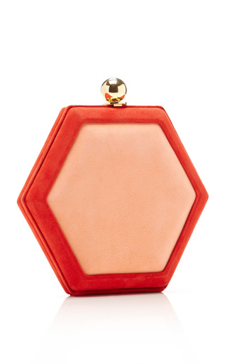 Hex Two Tone Suede Clutch by OSCAR DE LA RENTA Now Available on Moda Operandi