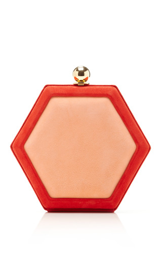 Medium oscar de la renta red hex two tone suede clutch 4