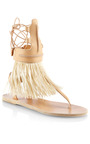 Raffia Fringed Leather Gladiator Sandals by ANCIENT GREEK SANDALS Now Available on Moda Operandi