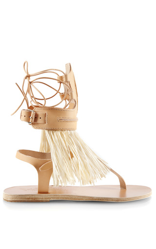 Medium ancient greek sandals nude raffia fringed leather gladiator sandals