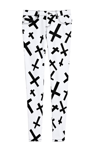 Medium tripp nyc white crossed out jeans