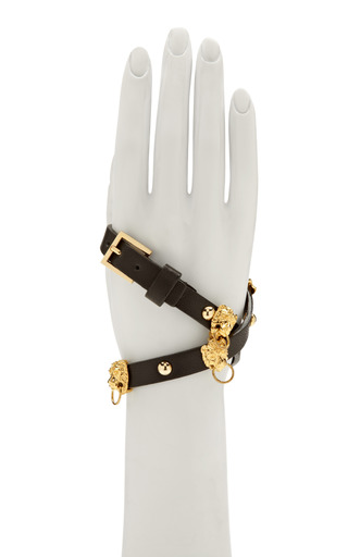 Braided Leather Bracelet With Pierced Lion Heads by FALLON Now Available on Moda Operandi