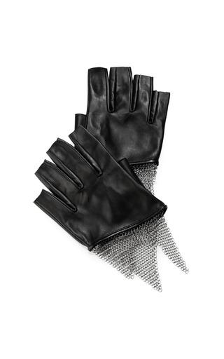Medium urstadt swan black cropped lambskin chain mesh gloves