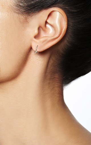 14 K White Gold Double Spike Clicker Earring by MARIA TASH Now Available on Moda Operandi