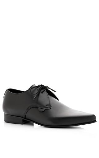 Medium london underground black pointed toe leather lace up flats