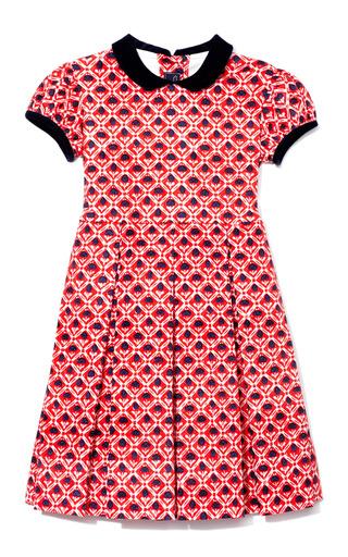 Medium oscar de la renta red red little girls gathered sleeve dress