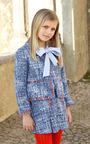 Blue Girls Bow Blouse by OSCAR DE LA RENTA for Preorder on Moda Operandi