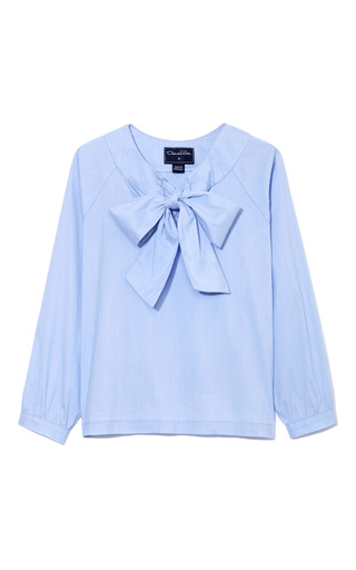 Medium oscar de la renta blue blue girls bow blouse