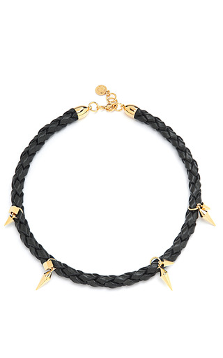 Medium caroline baggi black elena braided leather and gold plated spike necklace