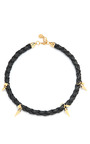 Elena Braided Leather And Gold Plated Spike Necklace by CAROLINE BAGGI Now Available on Moda Operandi