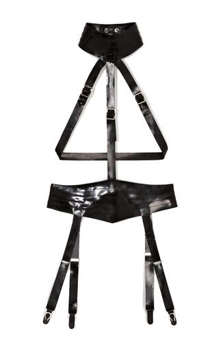 Medium atsuko kudo black restricted latex playsuit