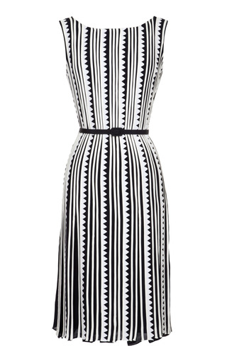 Embroidered Pleated Silk Dress by OSCAR DE LA RENTA Now Available on Moda Operandi