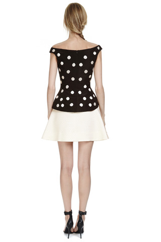 Beaded Silk Faille Peplum Top by OSCAR DE LA RENTA Now Available on Moda Operandi