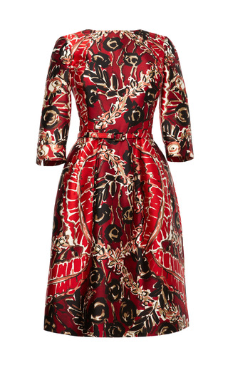Medium oscar de la renta red printed silk blend belted dress