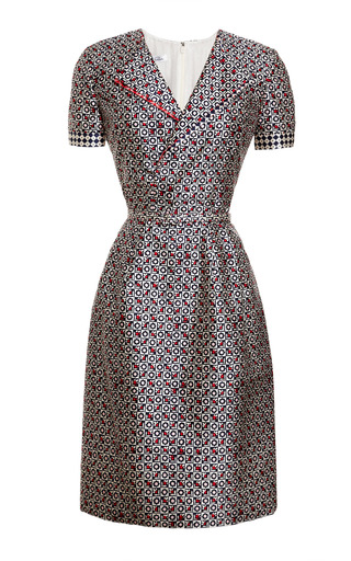 Medium oscar de la renta print printed silk blend v neck dress