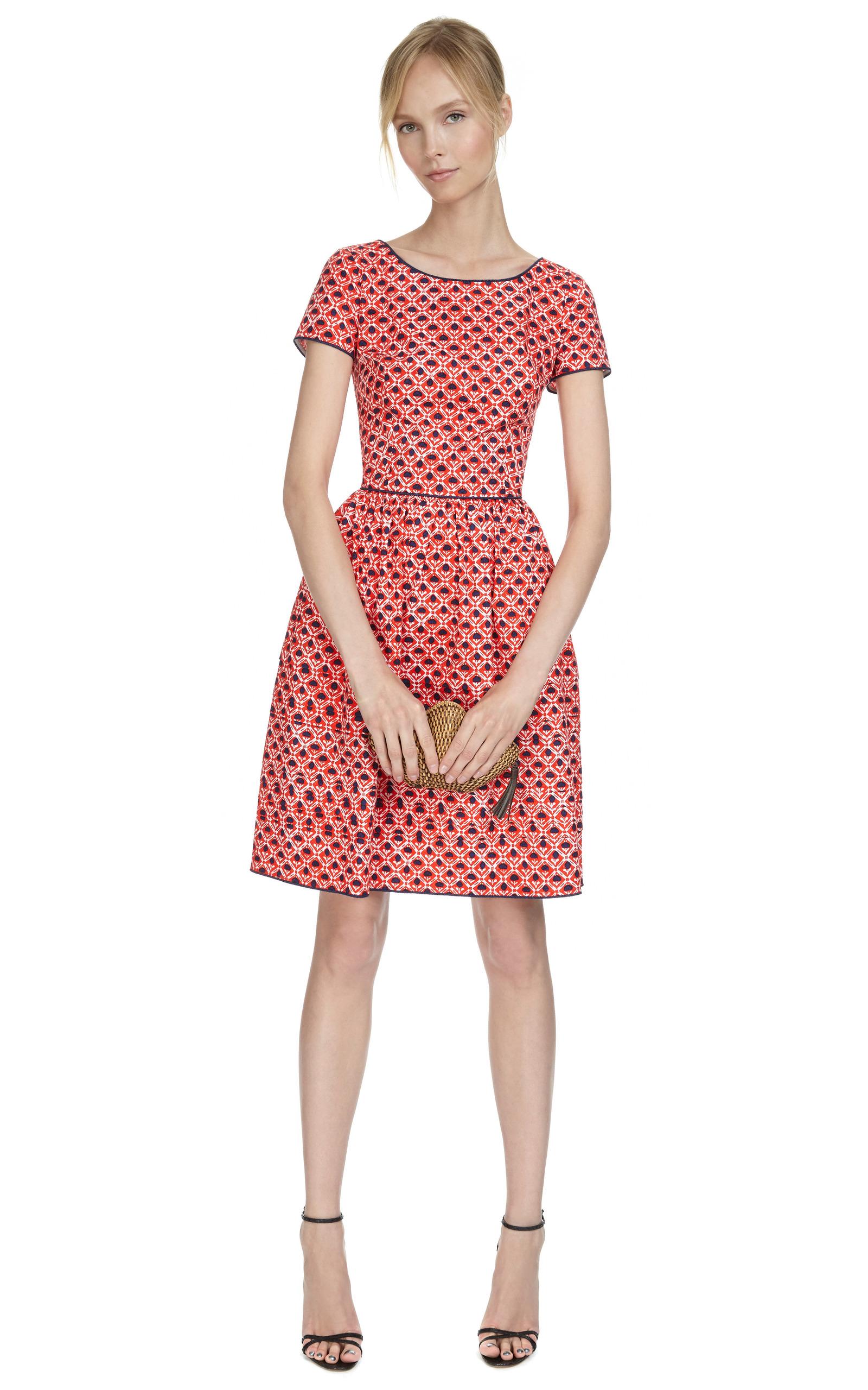 Printed Cotton-Blend Full Skirt Dress by Oscar de la ...