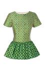 Printed Silk Blend Peplum Top by OSCAR DE LA RENTA Now Available on Moda Operandi