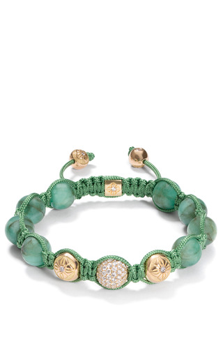 Medium shamballa jewels green colombian emerald bracelet with white diamond pave