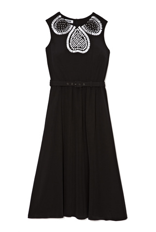 Medium moschino cheap chic black embellished silk chiffon belted dress