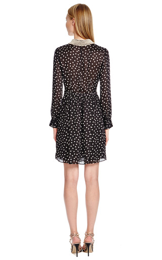 Pearl Embellished Polka Dot Silk Dress by MOSCHINO CHEAP & CHIC Now Available on Moda Operandi