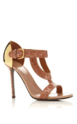 Medium sergio rossi gold beverly sandal in crocodile