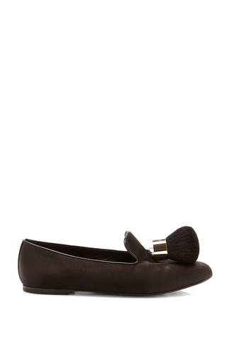 Medium roger vivier black pinceau satin tasseled slippers