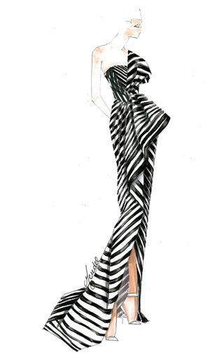 Organza Stripe Gown by J. MENDEL for Preorder on Moda Operandi