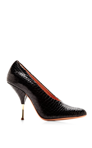 Medium rochas black embossed leather pumps