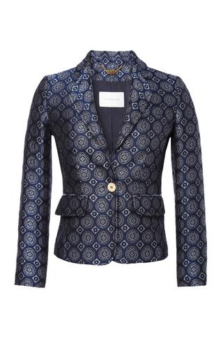 Medium pierre balmain blue silk blend shrunken jacquard blazer