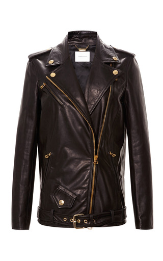 Medium pierre balmain black classic leather biker jacket