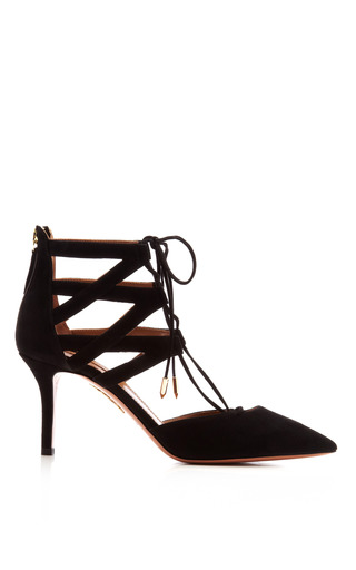 Medium aquazzura black belgravia suede pumps